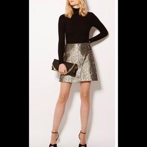 NWT Karen Millen Jacquard Wrap Mini Skirt, Size 10